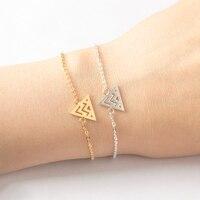 Geometry Jewelry Gold Silver Color Wave Triangle Charm Bracelets For Women Men Stainless Steel Chain Friendship Bracelet Femme