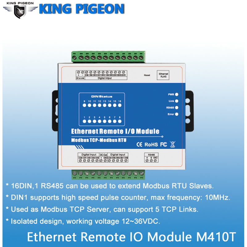 Image 3 - High Speed Pulse Counter Ethernet Remote IO IOT Module Modbus TCP Data Acquisition Module 16 DIN Support Modbus RTU/ASCII Master-in Alarm Host from Security & Protection
