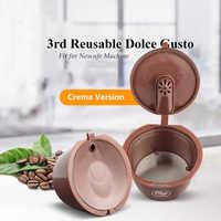3 a Crema/versión Normal reutilizable para la cápsula de café Dolce Gusto máquina Dolci Nescafe reutilizable Doci filtro de café