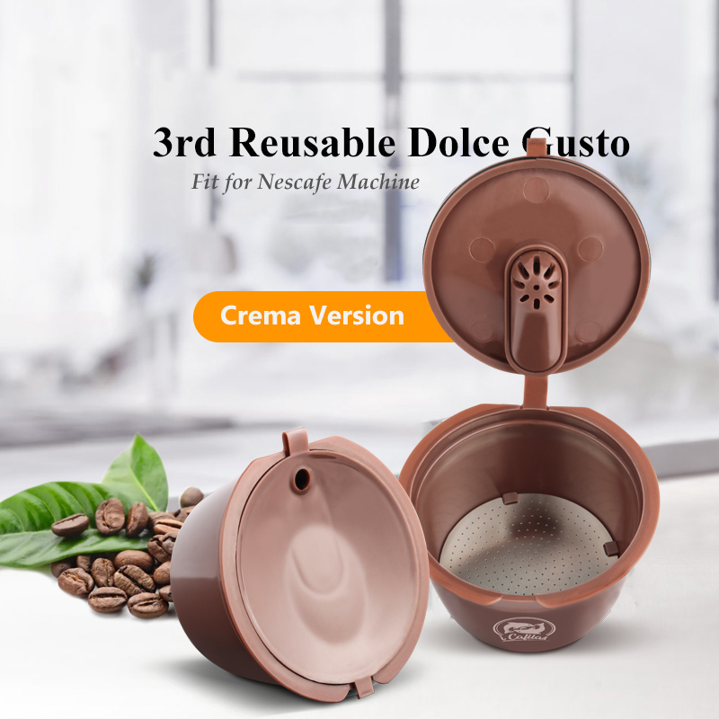 3rd Crema/Normal Version Reusable Dolce Gusto Coffee Capsule for Coffe Dolci Nescafe Machine Reusable Dulce Gusto Coffee Filter