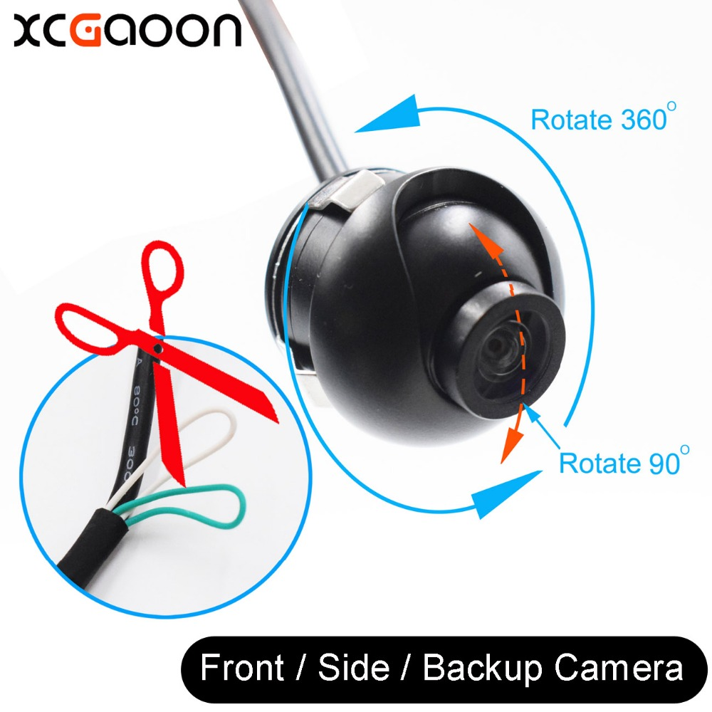 XCGaoon Nou Mini CCD 140 de grade Wide Angle Real Rezistent la apă Vehicul frontal / Side / Back View Camera de rezervă 360 poate roti