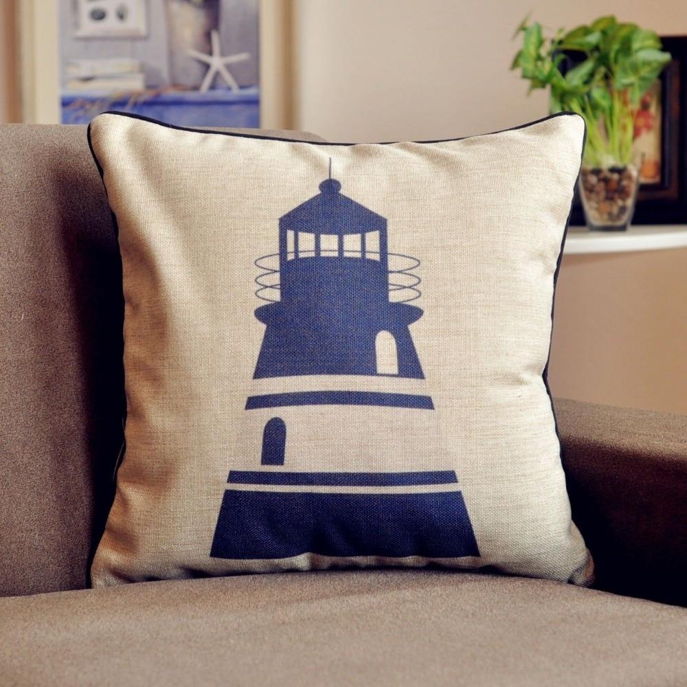 Blue Nautical Theme Lighthouse Cushion Cover Linen Pillow Cover Waist Cushion For Car Home Decor