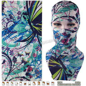 EXPRESS SHIPPING 100pcs/lot(Mix Model OK) Green Butterflies Floral Tubular Multi Function Headwear Scarf Balaclava Beanie Cap
