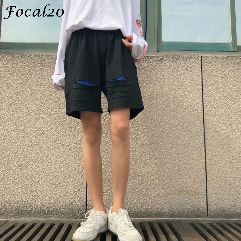 Focal20 Streetwear Hit Color Hole Women   Shorts   Elastic Waist Hole Patchwork Casual Loose Sporting   Shorts