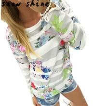 snowshine #3522 Women Striped Floral Print Sweatshirt Long Sleeve Loose Blouse free shipping