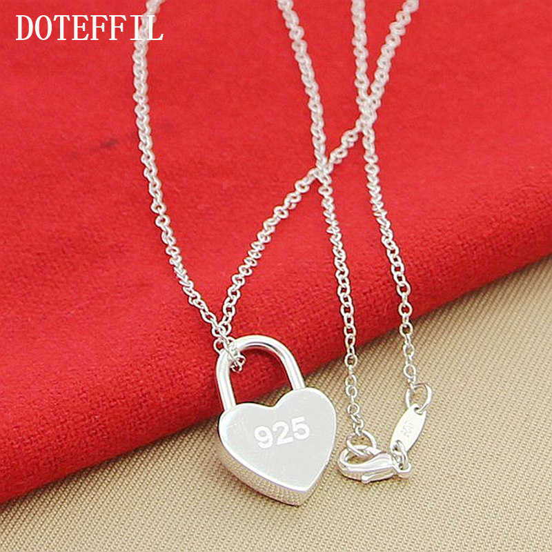 Оптовая продажа, роскошный бренд 100%, новинка, серебро 925 пробы, квадратный/сердце, замок, ожерелье с оригинальным логотипом для женщин, рождественский подарок