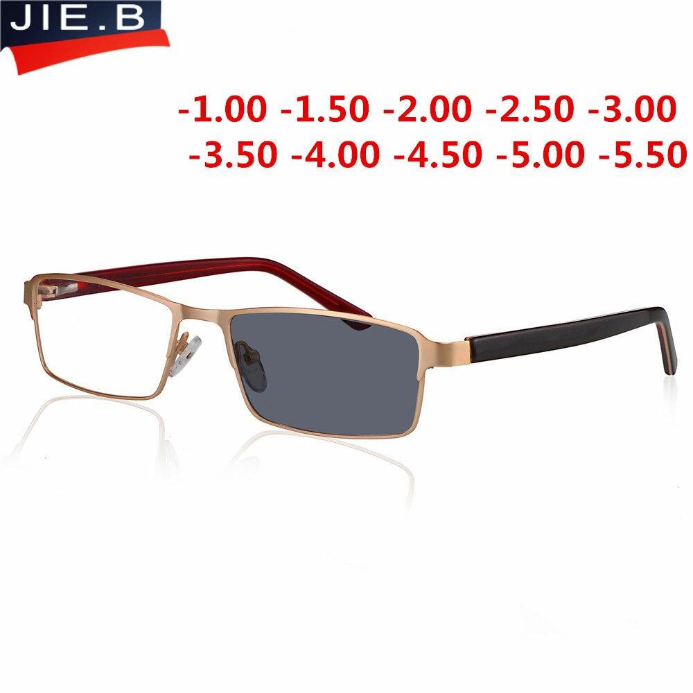 46159d3def Óptica miopía gafas de sol fotosensibles terminado de las mujeres de los hombres  miopía gafas marco con color de sol lentes gafas miopía gafas