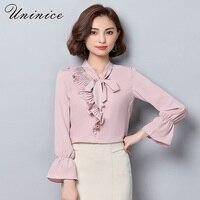 2017 Autumn Chiffon Blouse Shirt Women S Clothing Solid Beading Shirt Women Blouse Long Sleeve Shirt