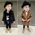 winter baby boys coat kids faux fur solid turn down coat thick warm Outerwear Infant Overcoat boys Parka 1-5T children clothing