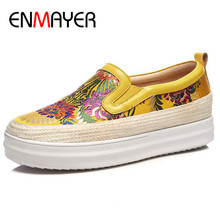 ENMAYER Slip-on Shoes Woman Flat Platform Shoes Woman Round Toe Black Blue Yellow Flats Genuine Leather Silk Flats Womens 2017 woman black gray genuine leather flats shoes casual retro round toe handmade slip on solid round toe chinese embroidered
