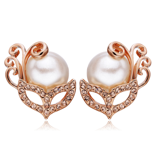 NICETER Rose Gold Plated Pearl Earrings Women Fashion 18K Micro CZ Diamond Brincos Mask Shape - Niceter Jewelry store