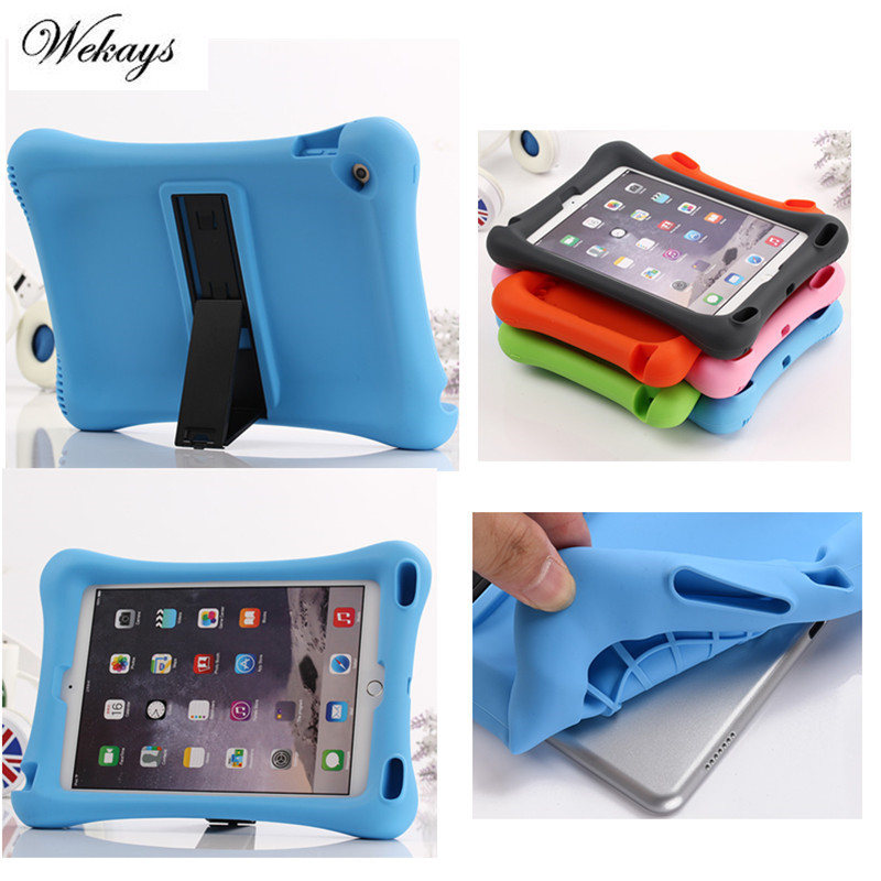 Wekays Shockproof Protective Case for Apple iPad 6 /Air 2 Silicone Table with Kickstand Case Cover Fundas for Home Children Kids shockproof kids children save protective