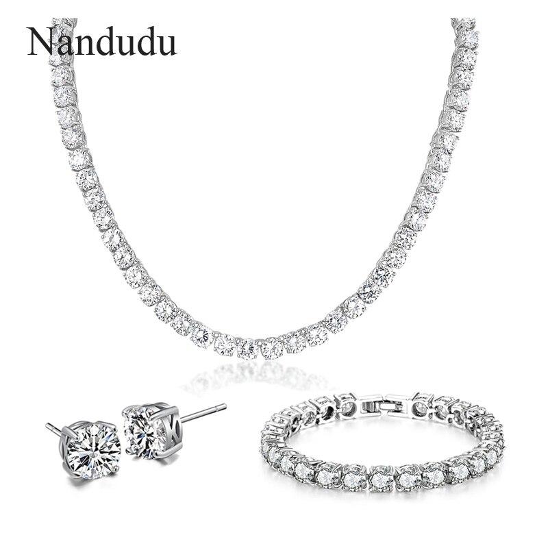 Nandudu mode Tennis cubique zircone collier Bracelet or blanc couleur bijoux ensembles femmes mariage bijoux cadeau N871 B361