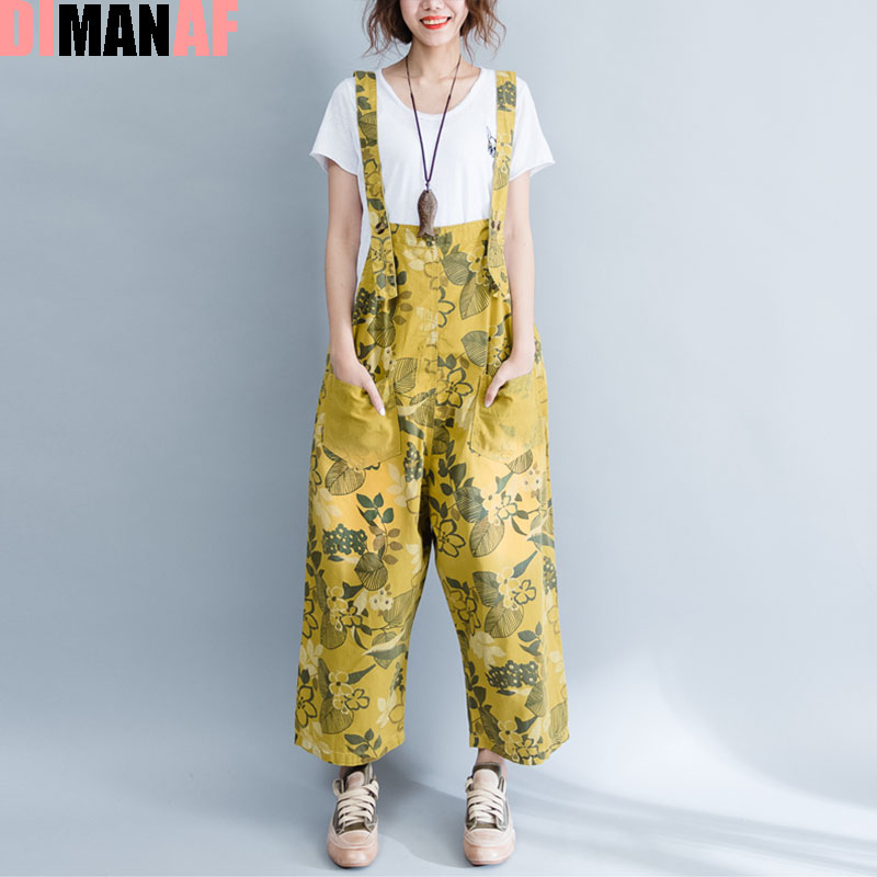 09afdc758af Plus Size Women Jumpsuits Denim Floral Print Sleeveless Female Casual New  Jeans Denim Wide Leg Pants Harem Fashion Pants Large-in Rompers from Women s  ...