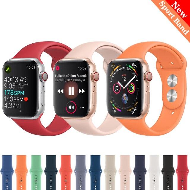 Ремешок для apple watch band 4 3 correa iwatch band 42 мм/38 мм 44 мм/40 мм 2 спортивный силиконовый браслет pulseira apple watch аксессуары
