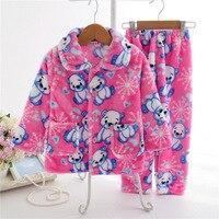 Pijamas Kids Pijama Set Coral Fleece Baby Boy Girl Printing Pajamas Children Flannel Sleepwear Infant Pajamas