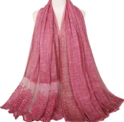 85x185 см женский модный однотонный кружевной жемчужный хлопковый шарф шаль осенний высококачественный палантин фирмы Cachecol Bufandas Mujer мусульманский хиджаб
