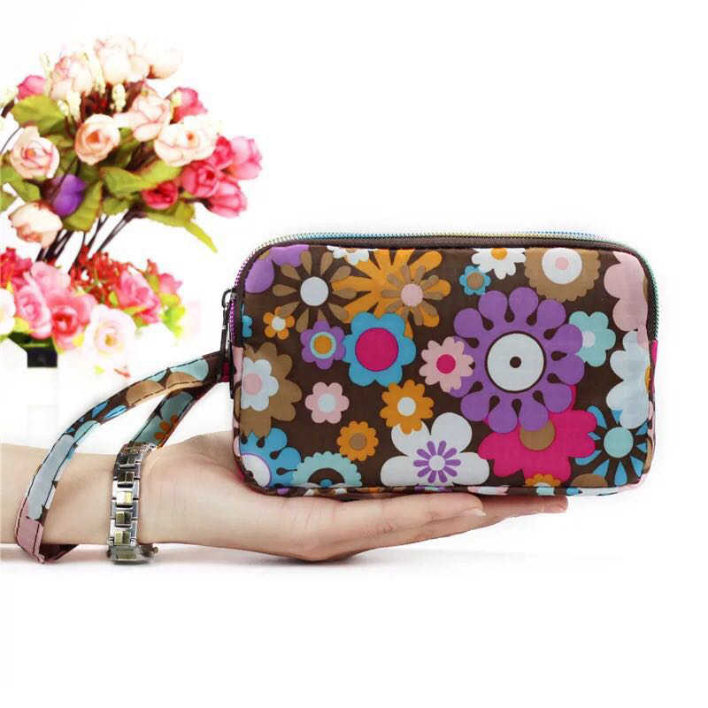 LIANGKA Mulheres Carteira de Longo Floral Oxford 3 Isolado camada Saco Phone Pouch Case Bolsa Da Moeda Impresso Cremaller Monederos Mujer Pará