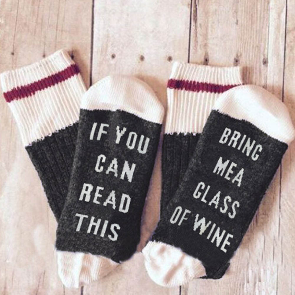 1 Pair Funny Couple Socks Letter Print Stylish Wine Sock If You can read this Bring Me a Glass of Wine Men Women Valentine Socks