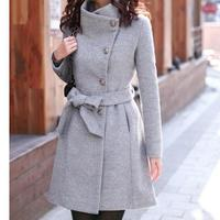 Women woolen long sleeve Medium long notched collar open front parka belt Coat manteau femme leisure veste femme S M L XL XXL