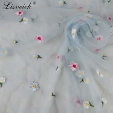 1yard Small flower Embroidery Net Lace Fabric For dress skirt Cloth African French Tulle Wedding Garment Accessories
