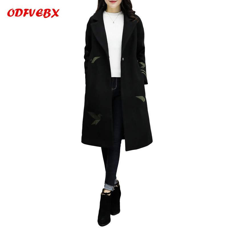 Abrigos de mujer de invierno2018Korean Grande Taille En Laine Manteau Femme Broderie Ample Casaco Longueur Moyenne En Laine Veste ODFVEBX