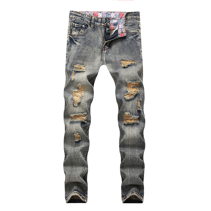 Plus Size Mens Hole Jeans Casual Straight Nostalgic Retro Cotton Distressed Jeans Men Pa ...