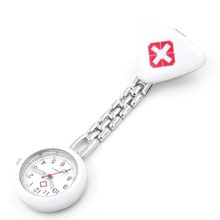 Protable Nurse Watches With Clip Red Cross Brooch Pendant Pocket Hanging Doctor Nurses Medical Quartz Watch QL Sale