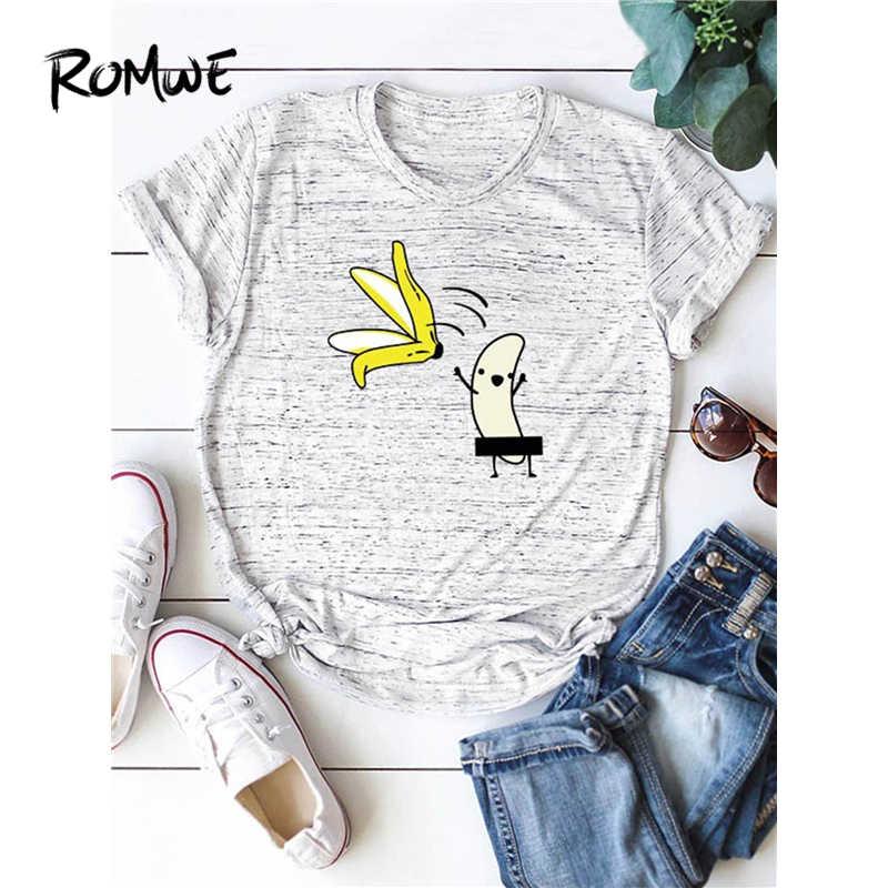 ROMWE/футболка с мультяшным принтом; Повседневная Корейская одежда; Летняя женская рубашка с короткими рукавами; 2019 Модная стильная футболка вокруг шеи