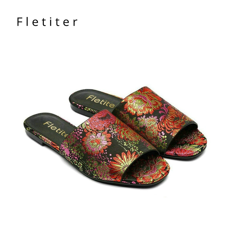 Brand Women Slippers Summer Shoes Flowers Mules Outdoor Women Shoes Flats Heels Slippers Women Fashion Party Female Slippers DE darseel shoes women s slippers boa