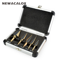 5PCS HSS Cobalt Multiple Hole 50 Sizes Step Drill Bit Set Tools Aluminum Case