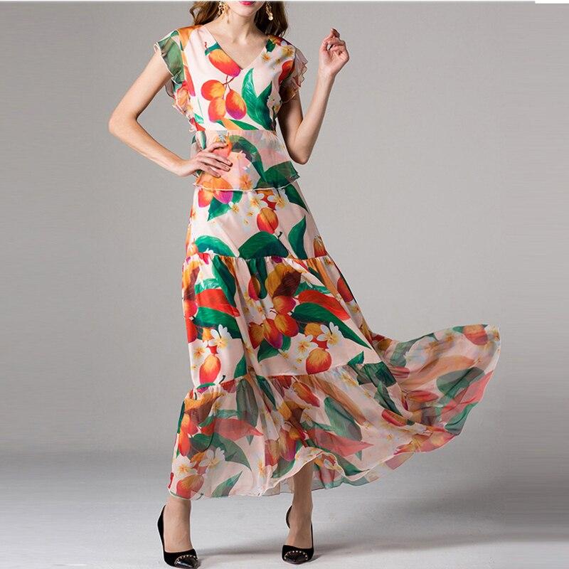 High Quality 2019 New Fashion Chiffon Summer Maxi Dress Women s V Neck Butterfly Sleeve Print