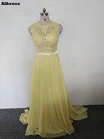 安い黄色セクシーなビーチイブニングドレス2017アップリケシフォンイブニングドレスロングスパンコールフォーマルパーティードレスシックなウエディングドレス