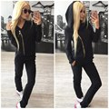 2017 New High Quality Women's Tracksuit Soild Color Sportswear Hoodie Jacket and Long Pants 2 Piece Set Women Clothing