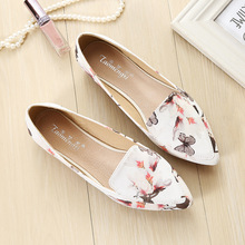 Taomengsi Womens Shoes Stamp Pointed Fashion Flowers Leather Shallow Mouth Sweet  Deodorant Breathable Flats