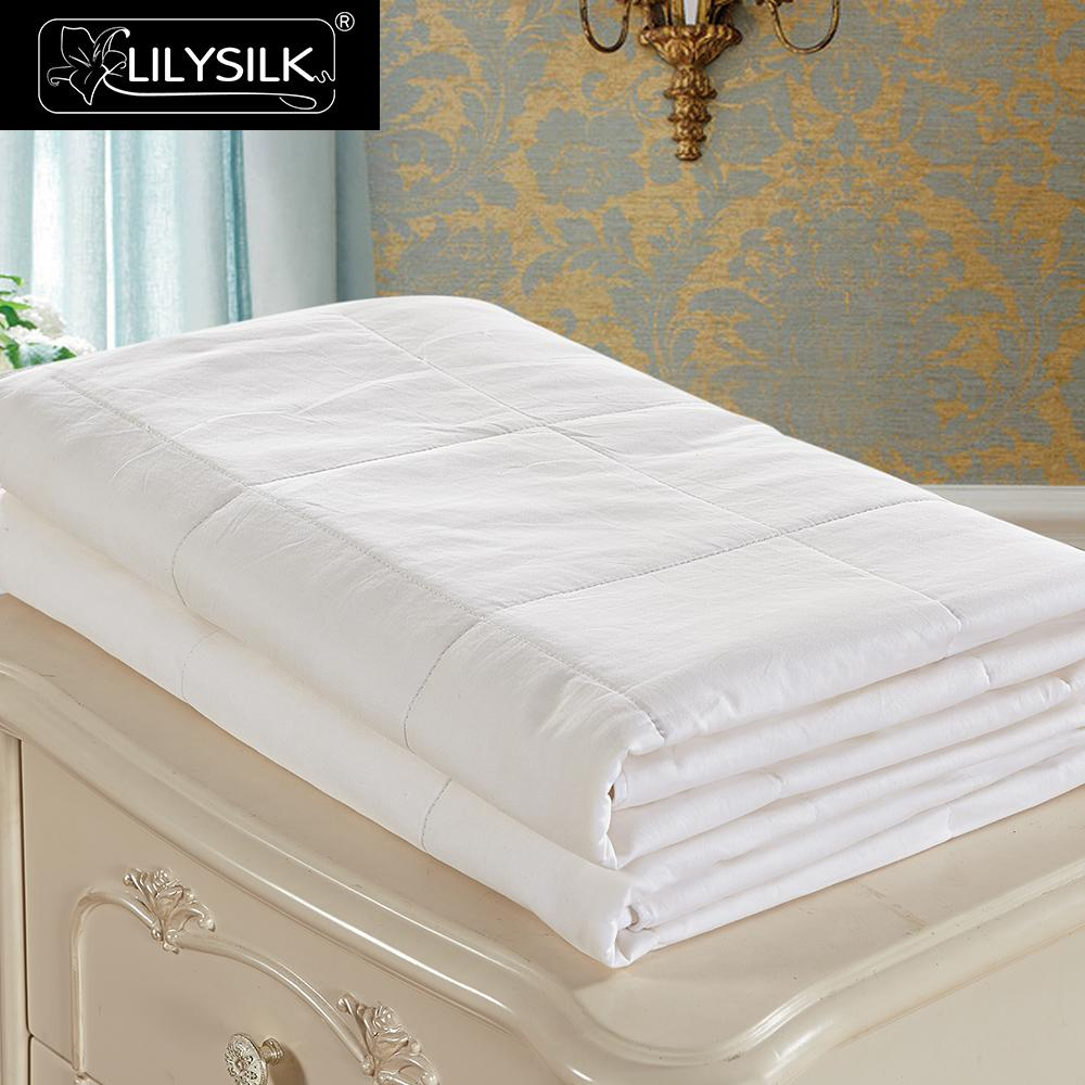 LilySilk Comforter Duvet Silk Washable Cotton Covered 100 pure and natural long strand silk floss Free