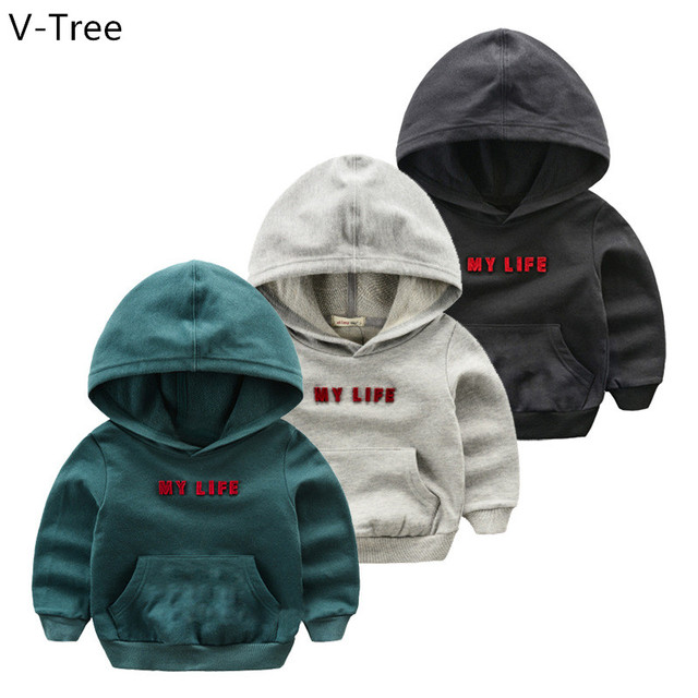Spring Boys Cotton Hoodies Baby Kids Long Sleeve Solid Hoodie Toddler Soft Letter T-Shirt Children Sweatshirt Cloth S2F023