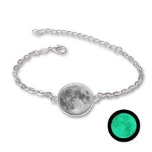 382513a075a7 Resplandor en la oscuridad encantos pulsera de cristal Cabochon Luna gris  luminoso joyería de plata pulseras de cadena para las .