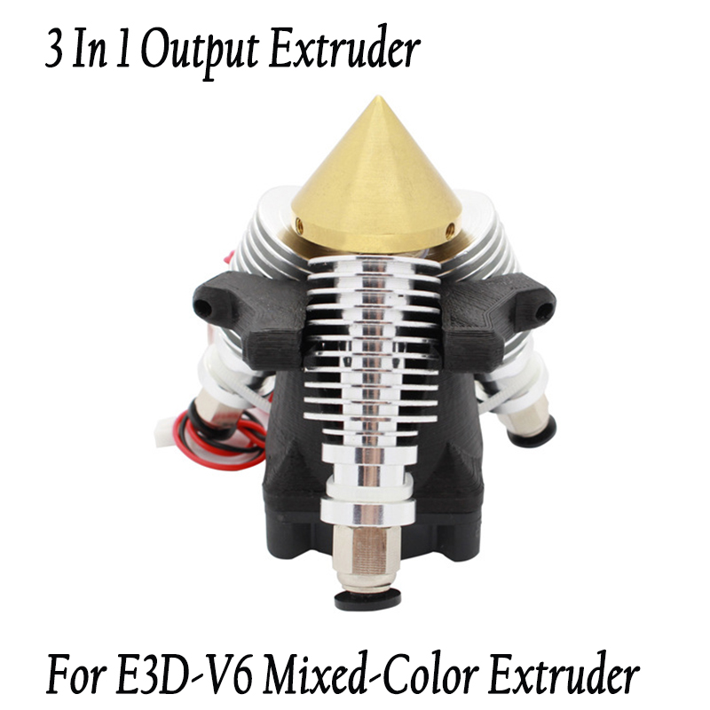 3D printer Parts 3 in 1 out hotend Extruder For E3D-V6 Mixed-Color Extruders  j-head Nozzle 0.4mm/1.75mm Filament New arrival new 12v e3d v6 3d printer extruder j head hotend 0 4mm nozzle for 1 75mm filament fan