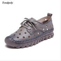 Весной и летом 2018 новый размер (35-41) кожаные женские сандалии выдолбленные дышащая повседневная обувь на мягкой подошве, женская обувь