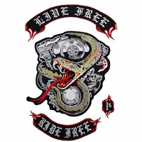NEW ARRIVAL LIVE FREE RIDE FREE EMBROIDERY PATCH MOTORCYCLE CLUB VEST OUTLAW BIKER MC JACKET PUNK IRON ON BADGE FREE SHIPPING