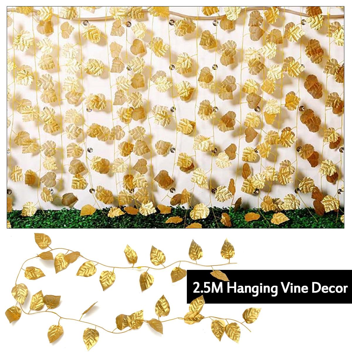 1 Stücke 250 Cm Gold Seide Ivy Vine Künstliche Blumen Laub Getrocknete Blume Girlande Blätter Pflanze Für Home Hochzeit Party Hängen Dekor