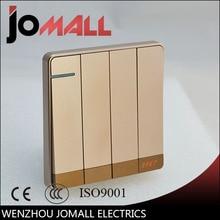 Luxury rose gold slim Wall Switch Panel, Light 4 Gang 2 Way Push Button Rocker  16A,110~250V, 220V
