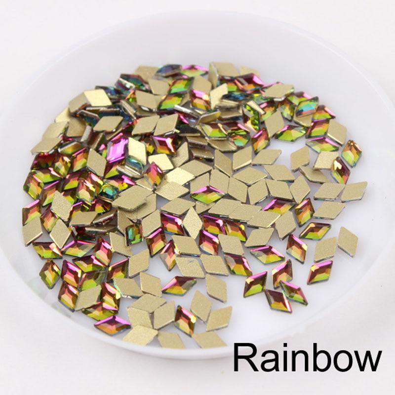 30/100 шт./лот ногтей Стразы 3x5 мм Flatback ромб с цветными камнями для 3D нейл-арта украшения - Цвет: Rainbow