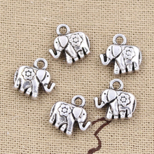 20pcs Charms elephant flower 12x12mm Antique Silver Pendants DIY Necklace Crafts Making Findings Handmade Tibetan Jewelry