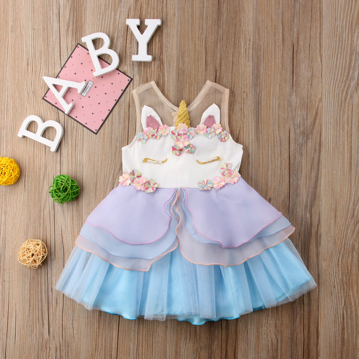 Princess Newborn Kids Baby Girls Sleeveless Chiffon Unicorn Embroidery Party Pageant Dress 3D Sundress Ruffle Summer Clothes eyelet embroidery ruffle hem dress