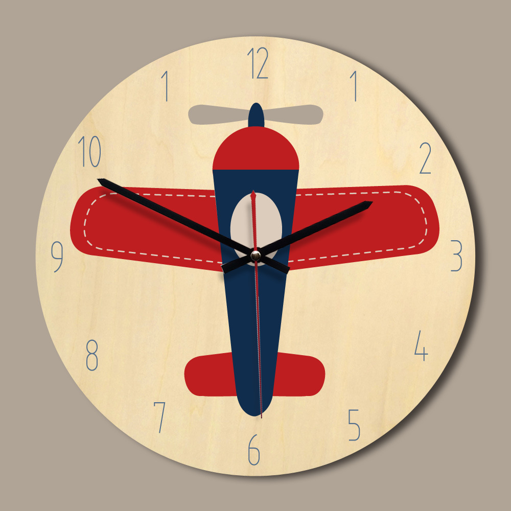 Children Room Wooden Wall Clock Modern Design 11 Inch Colorful Printing Wall Watch Circular Mute Klock Special Gift