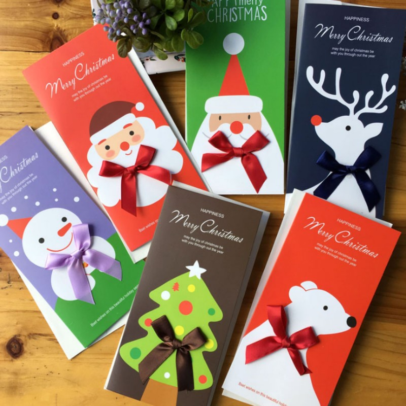 6pc/set Merry Christmas Card Santa Claus Santa Elk Folding