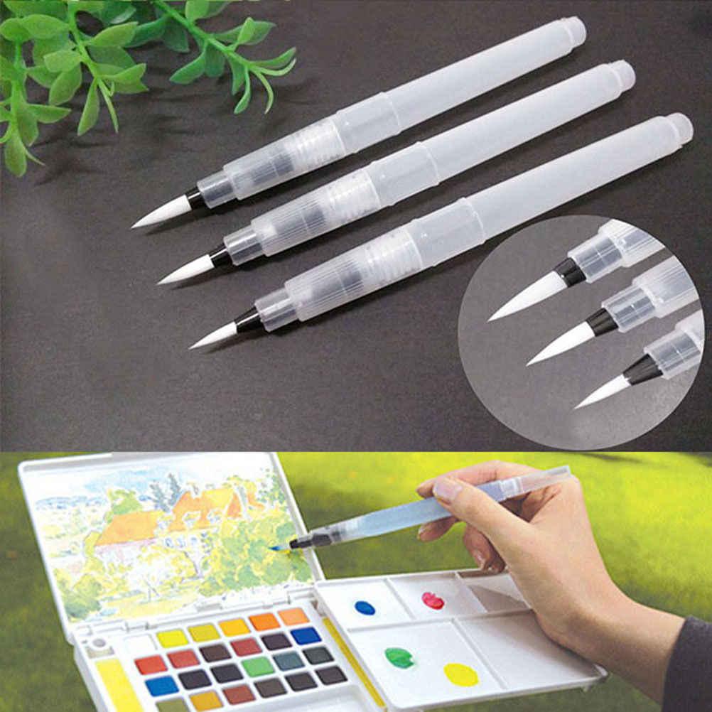 1 ud./3 piezas. Dibujo pintura lápiz de pintura recargable cepillo de agua pluma de tinta para caligrafía de Color agua suministros de escritura 3 tamaños
