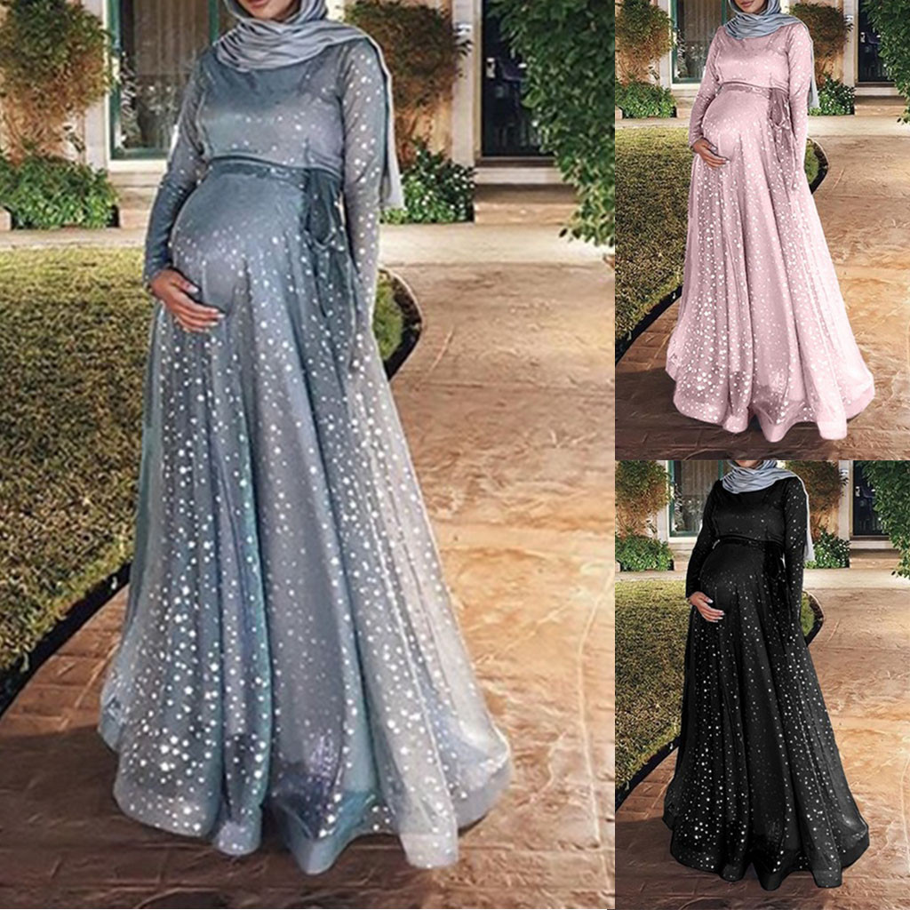 2019 Summer Pregnant Women Floor-length Dress Slim Fit Plus Size Loose Elegance Maternity muslim Long pregnancy dress vestidos pocket